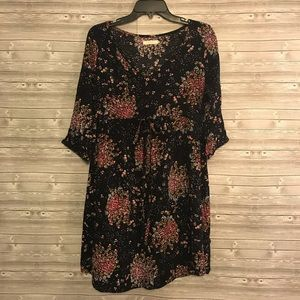Tulle Anthropologie Floral 3/4 Sleeve Dress Sz S